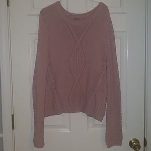 Pink mauve cable knit sweater